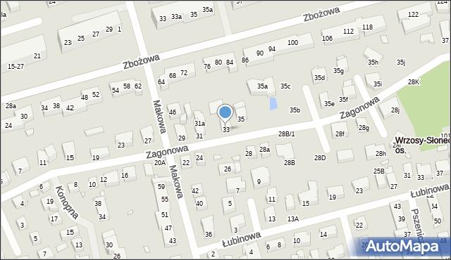 Toruń, Zagonowa, 33, mapa Torunia