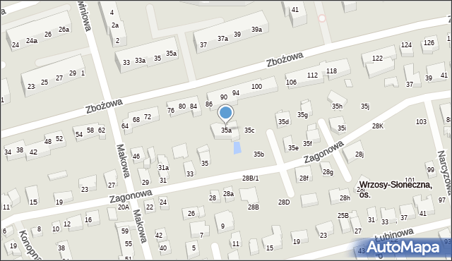 Toruń, Zagonowa, 35a, mapa Torunia