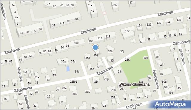 Toruń, Zagonowa, 35g, mapa Torunia