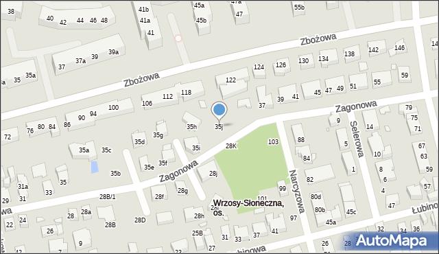 Toruń, Zagonowa, 35j, mapa Torunia