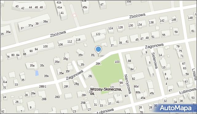 Toruń, Zagonowa, 35k, mapa Torunia