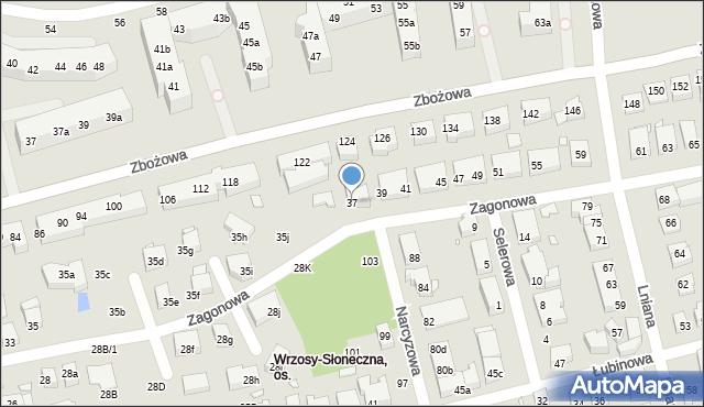 Toruń, Zagonowa, 37, mapa Torunia