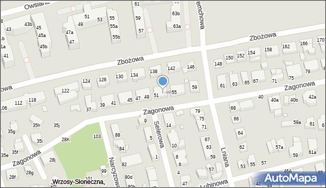 Toruń, Zagonowa, 53, mapa Torunia