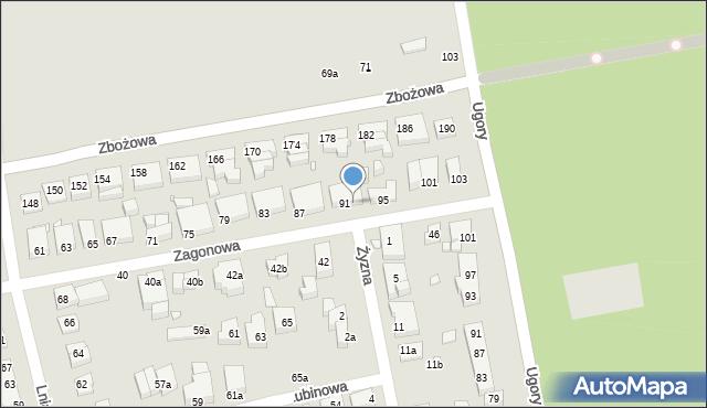 Toruń, Zagonowa, 93, mapa Torunia