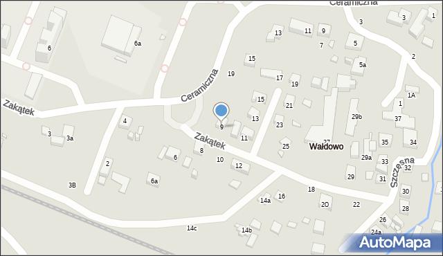 Toruń, Zakątek, 9, mapa Torunia