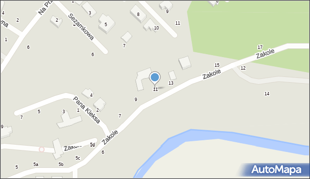 Toruń, Zakole, 11, mapa Torunia