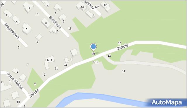 Toruń, Zakole, 15, mapa Torunia