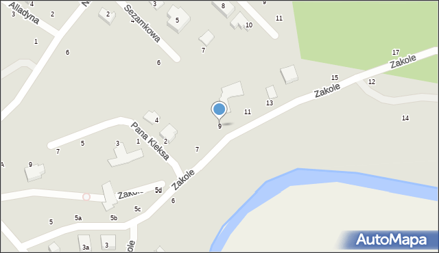 Toruń, Zakole, 9, mapa Torunia