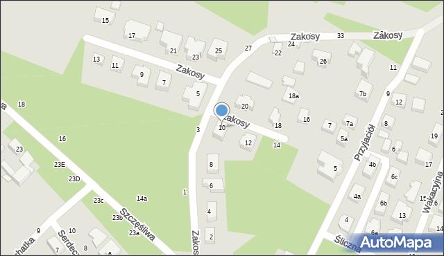 Toruń, Zakosy, 10, mapa Torunia