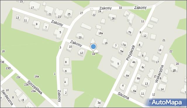 Toruń, Zakosy, 14, mapa Torunia