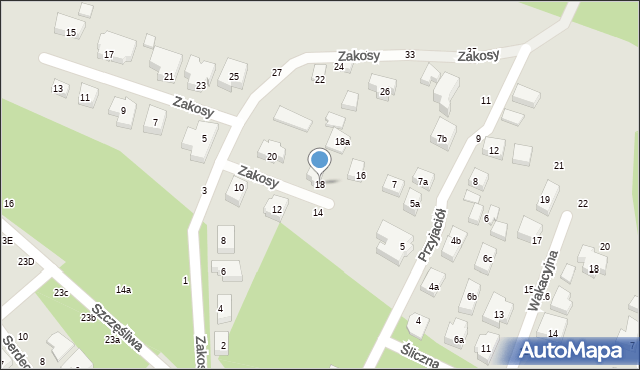 Toruń, Zakosy, 18, mapa Torunia