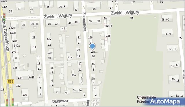 Toruń, Zamenhofa Ludwika, dr., 10a, mapa Torunia