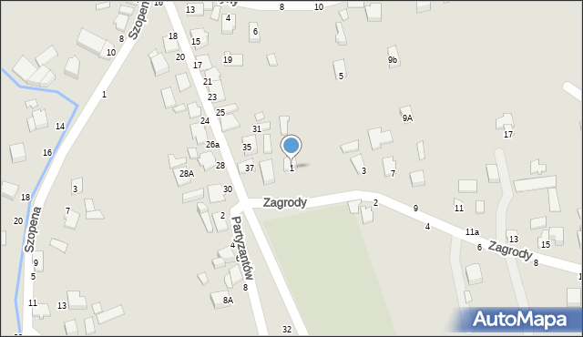 Tyczyn, Zagrody, 1, mapa Tyczyn