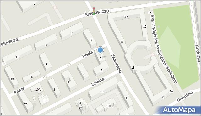 Warszawa, Zamenhofa Ludwika, dr., 5, mapa Warszawy