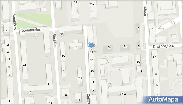 Warszawa, Zakrzewska, 14, mapa Warszawy