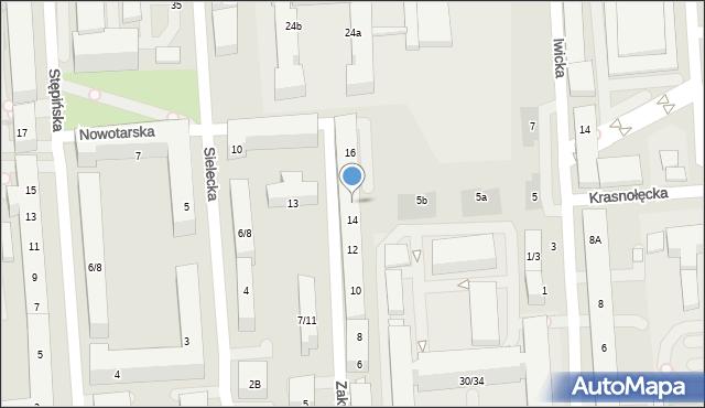 Warszawa, Zakrzewska, 14A, mapa Warszawy