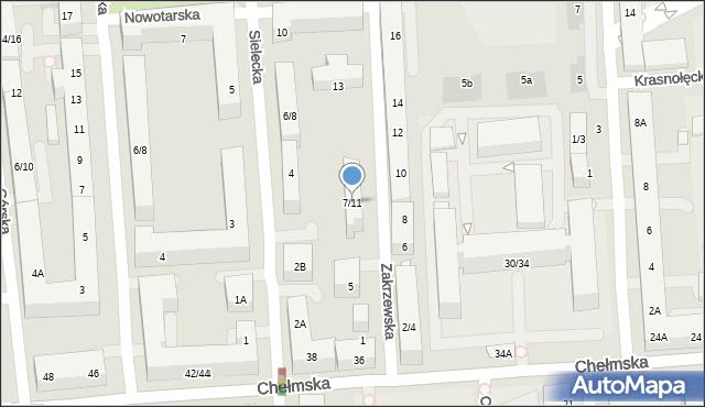 Warszawa, Zakrzewska, 7/11, mapa Warszawy