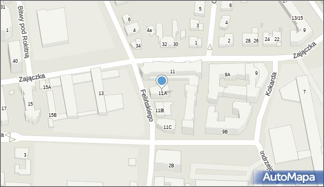 Warszawa, Zajączka Józefa, gen., 11A, mapa Warszawy