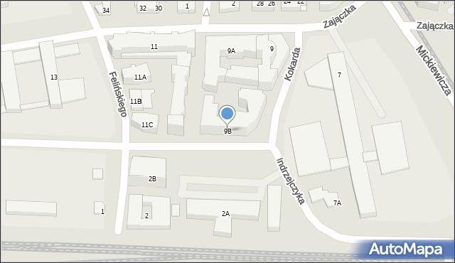 Warszawa, Zajączka Józefa, gen., 9B, mapa Warszawy