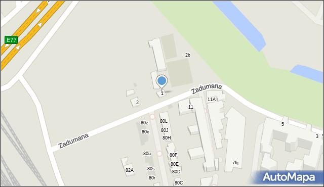 Warszawa, Zadumana, 1, mapa Warszawy