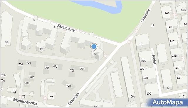 Warszawa, Zadumana, 1A, mapa Warszawy