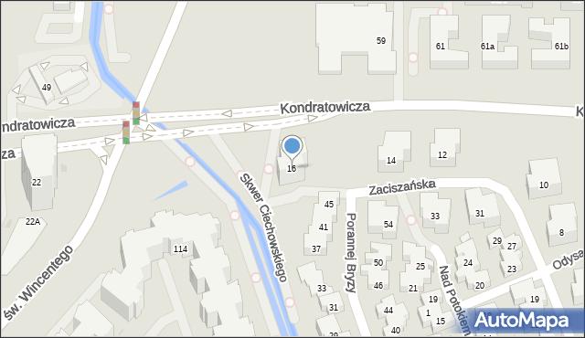 Warszawa, Zaciszańska, 16, mapa Warszawy