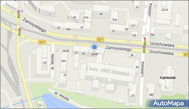 Warszawa, Zamoyskiego Jana, hetm., 28/30, mapa Warszawy