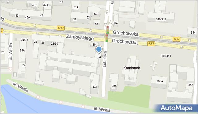 Warszawa, Zamoyskiego Jana, hetm., 34, mapa Warszawy