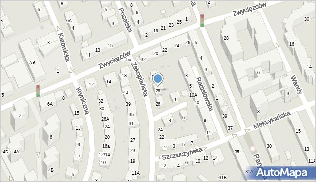 Warszawa, Zakopiańska, 28, mapa Warszawy