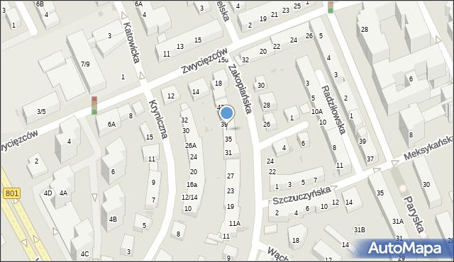 Warszawa, Zakopiańska, 37, mapa Warszawy