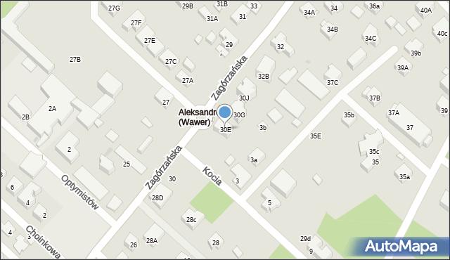 Warszawa, Zagórzańska, 30E, mapa Warszawy