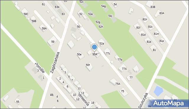Warszawa, Zagórzańska, 50A, mapa Warszawy