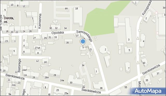 Zabrze, Zamoyskiego Jana, hetm., 7, mapa Zabrza