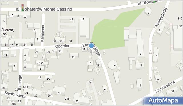 Zabrze, Zamoyskiego Jana, hetm., 9, mapa Zabrza