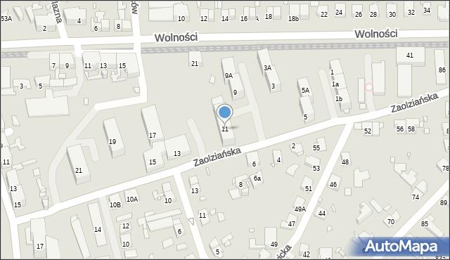 Zabrze, Zaolziańska, 11, mapa Zabrza