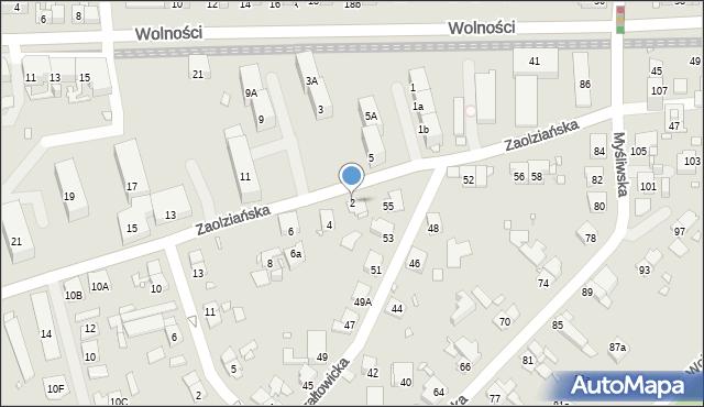 Zabrze, Zaolziańska, 2, mapa Zabrza