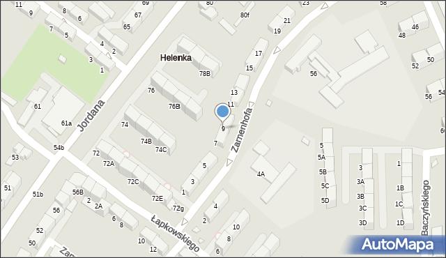 Zabrze, Zamenhofa Ludwika, dr., 9, mapa Zabrza