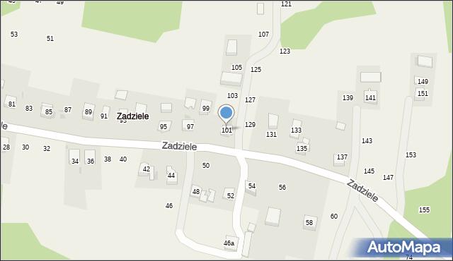 Zakliczyn, Zadziele, 101, mapa Zakliczyn