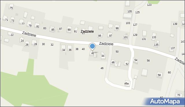 Zakliczyn, Zadziele, 42, mapa Zakliczyn
