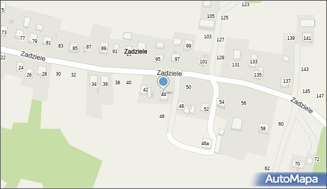Zakliczyn, Zadziele, 44, mapa Zakliczyn