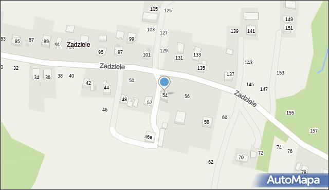 Zakliczyn, Zadziele, 54, mapa Zakliczyn
