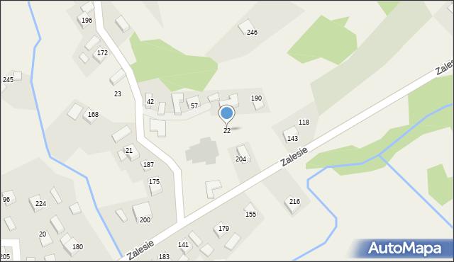 Zalesie, Zalesie, 22, mapa Zalesie