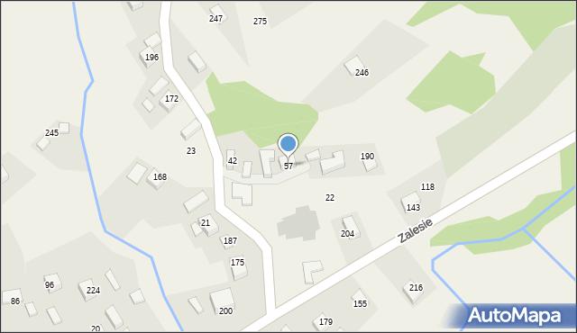 Zalesie, Zalesie, 57, mapa Zalesie