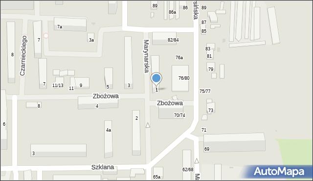 Łódź, Zbożowa, 1, mapa Łodzi