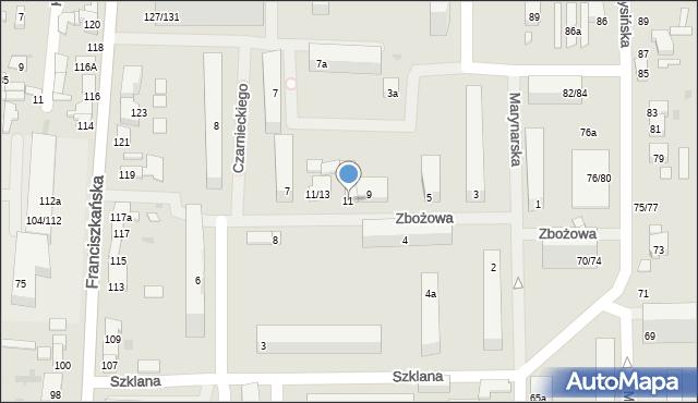 Łódź, Zbożowa, 11, mapa Łodzi