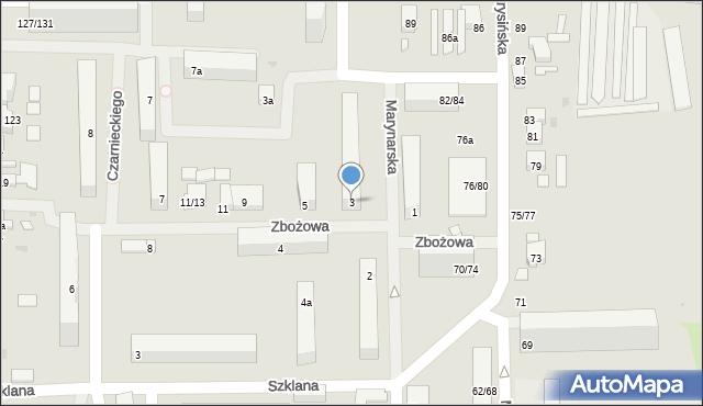 Łódź, Zbożowa, 3, mapa Łodzi
