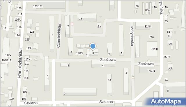 Łódź, Zbożowa, 9, mapa Łodzi