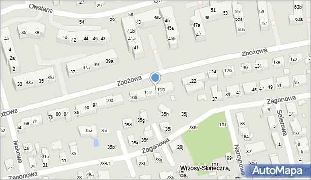 Toruń, Zbożowa, 116, mapa Torunia