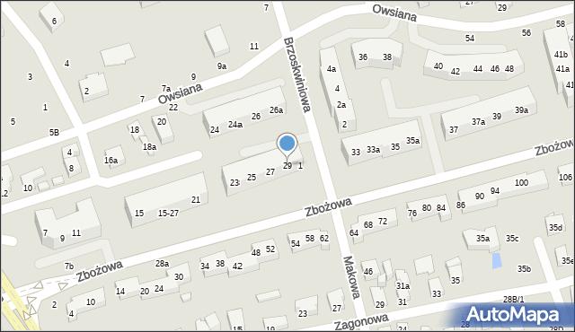 Toruń, Zbożowa, 29, mapa Torunia