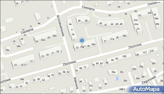 Toruń, Zbożowa, 33a, mapa Torunia